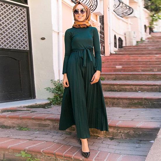 Pleated Flare Maxi Dress