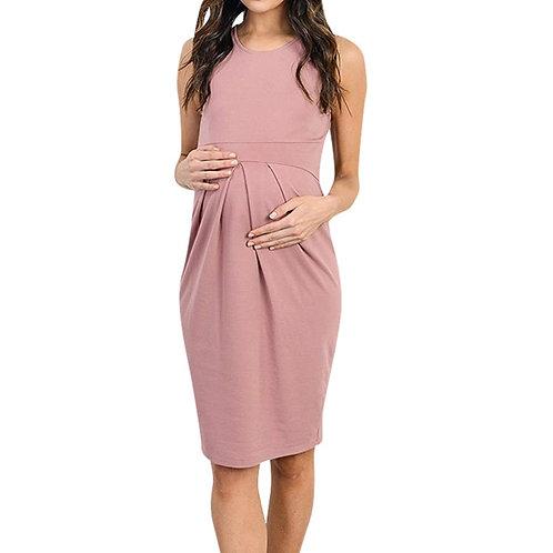 Maternity  Sleeveless Gathered Dress