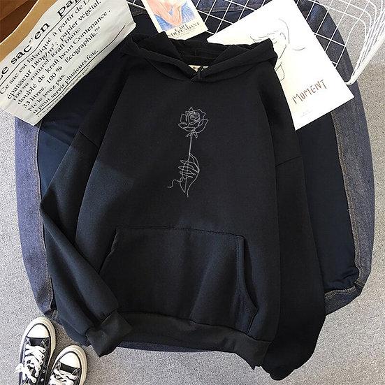 Rose Print Hood Sweatshirt