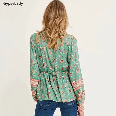 Green Floral Print Blouse