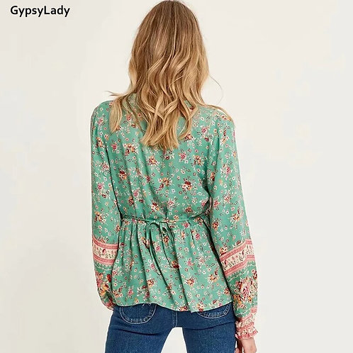 Green Floral Print Blouse