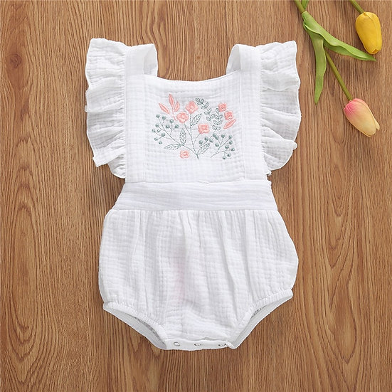 White Ruffle Embroidered Romper Sizes 0-24 months