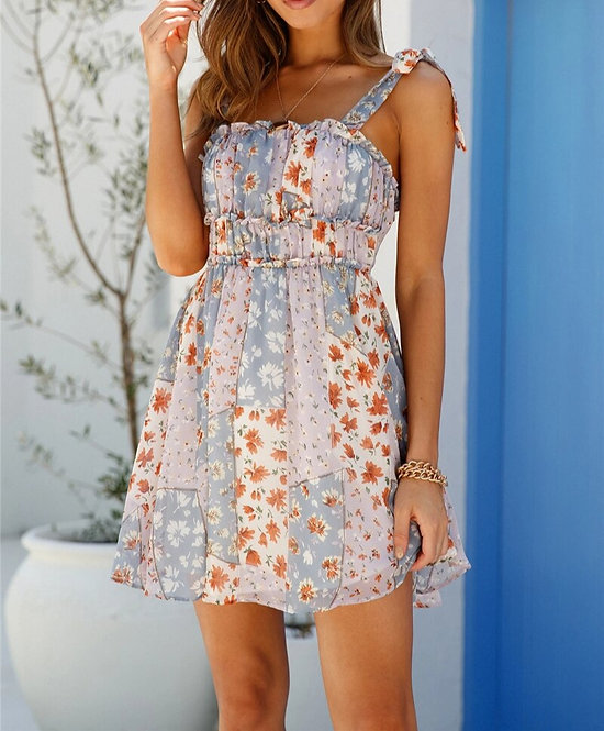 Floral Chiffon Mini Dress