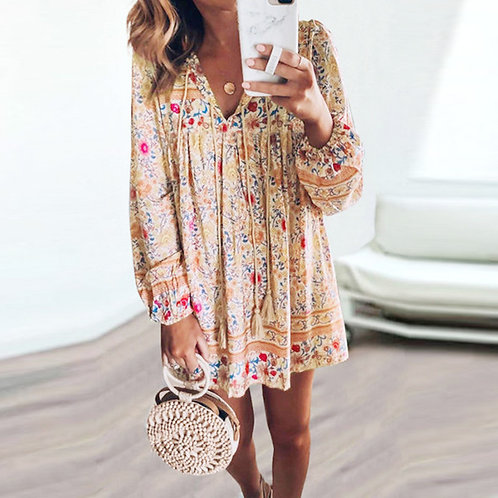 Boho Long Shirt Dress