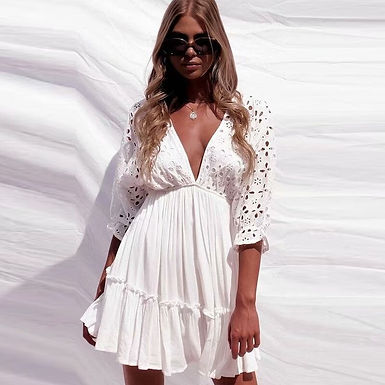 Bohemian Embroidered Mini Dress