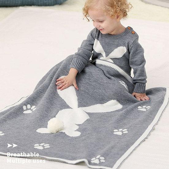 Knitted Cute 3D Rabbit Blanket