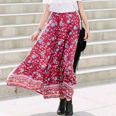 Floral Printed Elastic Waist Maxi  A-Line Skirt