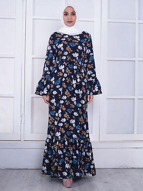 Floral Abaya Flare Sleeve Maxi Dress