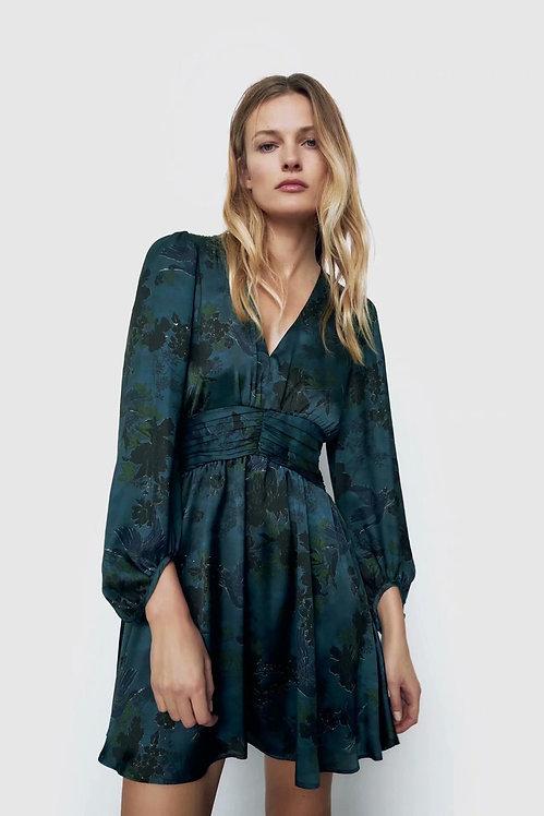 Dark Green A-Line Long Sleeve Mini Dress