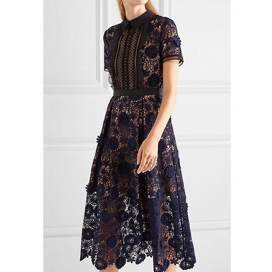 Short Sleeve Turn-Down Collar Lace Dress