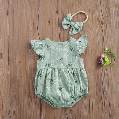 Flower Print Cotton Romper+ Headband  Sizes 0-24 months