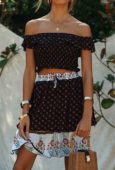 Off Shoulder Top and Mini Skirt 2 Piece Boho Set