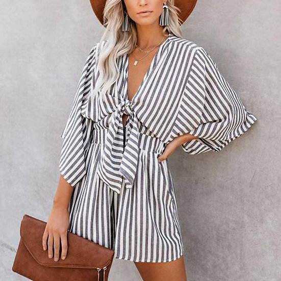 Striped Tie front Playsuit