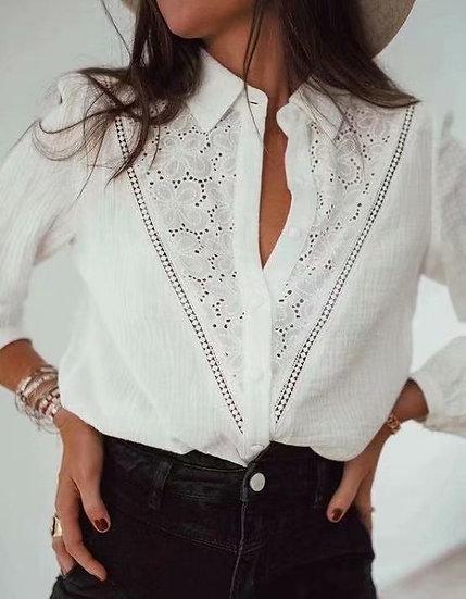 White Lace Shirt Blouse