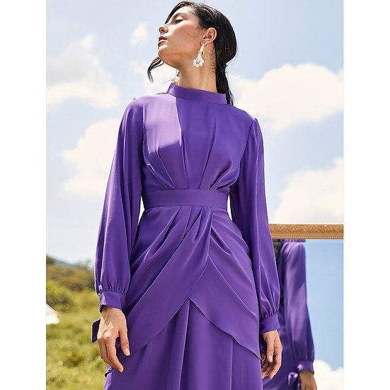 Purple Wrap Waisted Maxi Dress