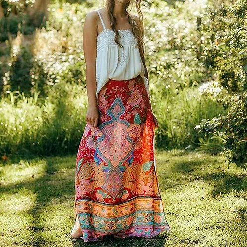 Vintage Red Floral Peacock Maxi Skirt