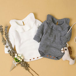 0-12m Knitted Long Sleeve Romper