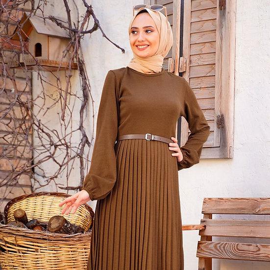 Knitwear Pleated Women's Maxi Dress