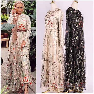 Flower Embroidery Mesh Maxi Dress