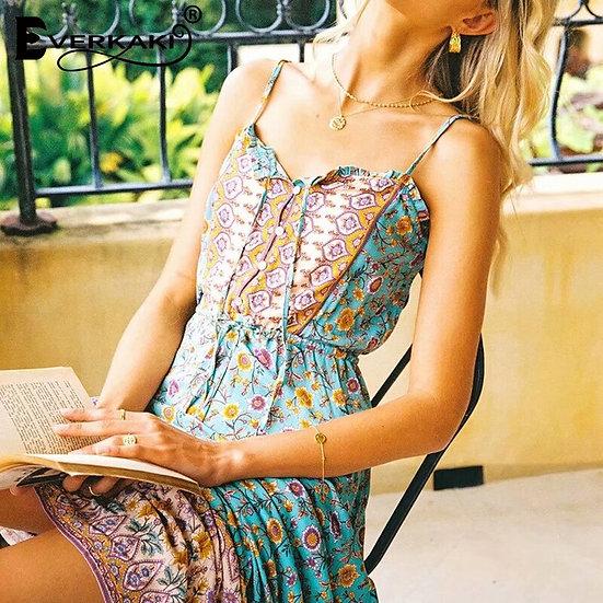 Boho Floral Print Slip Maxi Dress