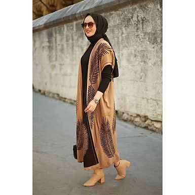 2 Pieces Leaf Pattern Maxi Dress and Cardigan
