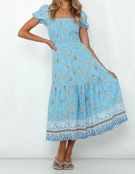 Blue Floral Puff Sleeve Maxi Dress