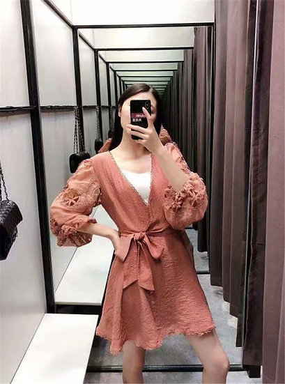 Vintage Chic Lace Patchwork V-Neck Mini Dress