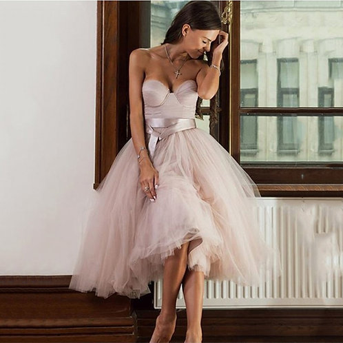 Strapless Tulle Bridesmaids Dress
