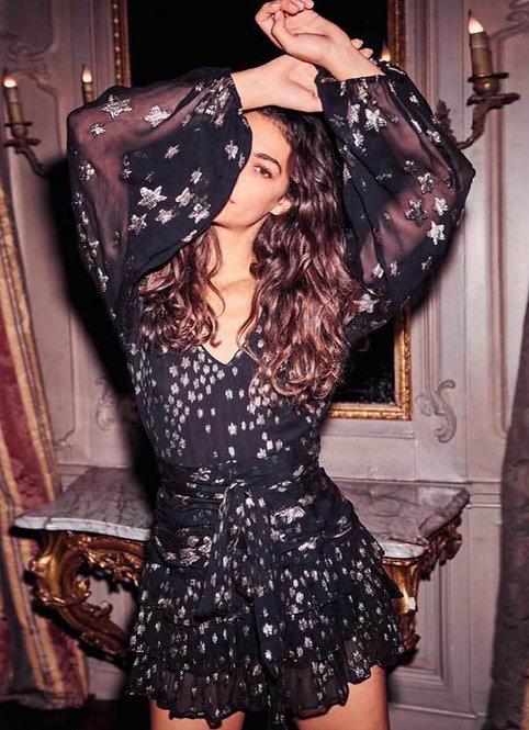 Black and Gold Star Print Long Sleeve Ruffle Mini Dress