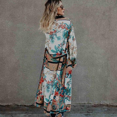 Bohemian Printed Long Kimono (Plus size Available)