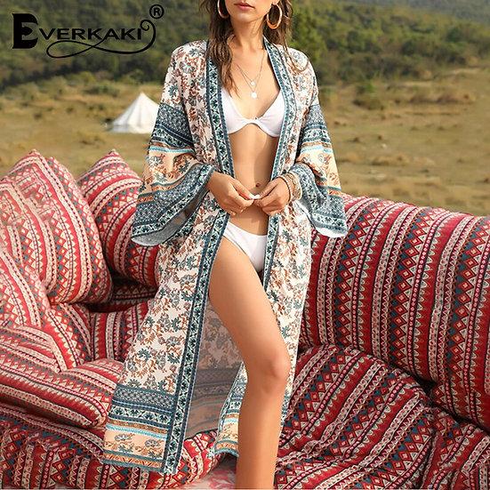 Floral Print Gypsy Vintage Long Kimono