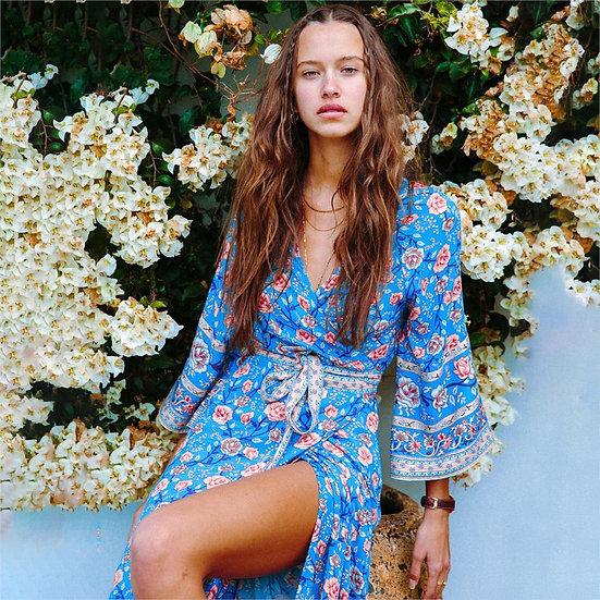 Spanish Rose Wrap Maxi Dress