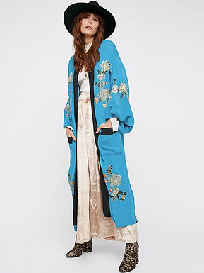 Blue Embroidered Kimono with pockets