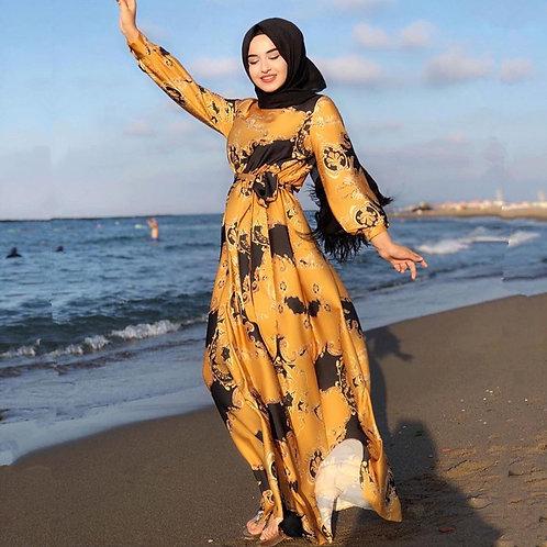 Printed Satin Maxi Dress