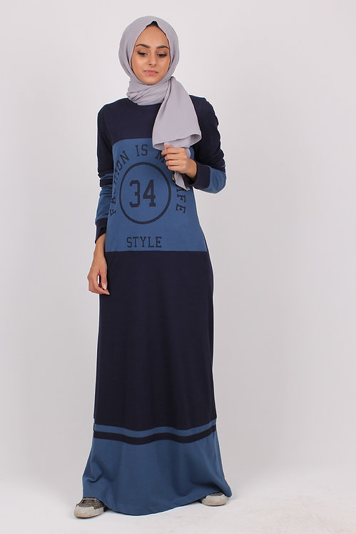 Long Sleeve T-shirt Maxi Dress Hidden Pockets