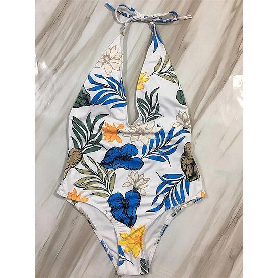 Floral Halter V Neck One Piece Swimsuit