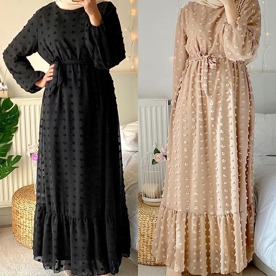 Embroidered Dot Maxi Dress