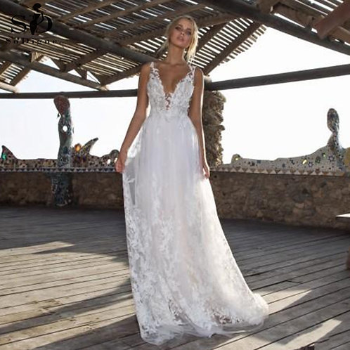 Ivory/White  v Neck Lace Bridal Gown