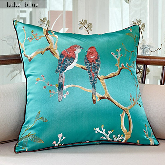 Bird Embroidered Cushion Cover