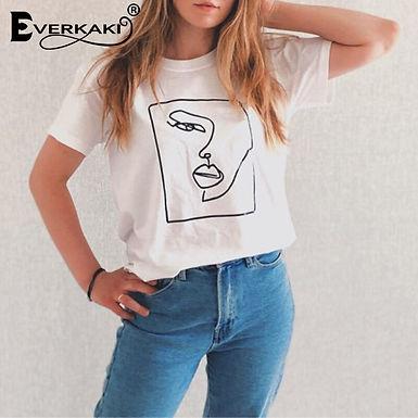 Face Abstract  Print T-Shirt