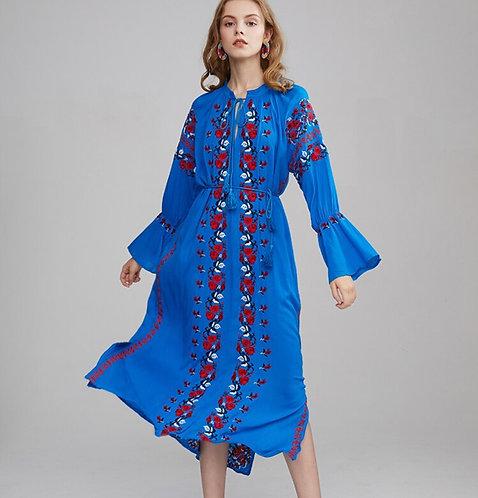 Blue Floral Embroidered Vintage Long Sleeve Elastic Waist