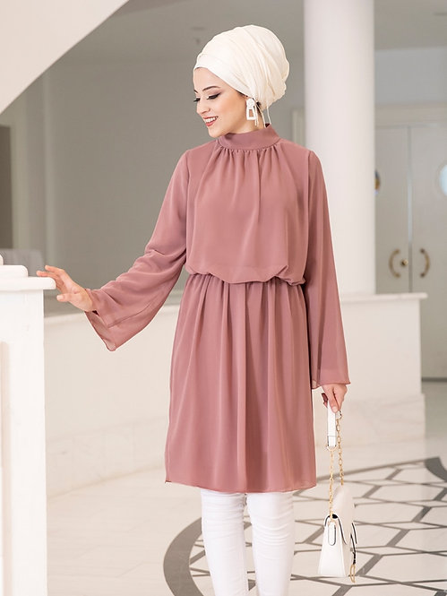 Polo Neck Chiffon Loose Long Blouse