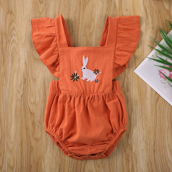 Rabbit Flower Embroidered Romper Sizes 0-18 months