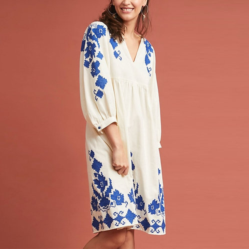 White Cotton Floral Embroidered Tunic Dress