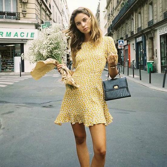 Yellow Floral Ruffle Mini Dress