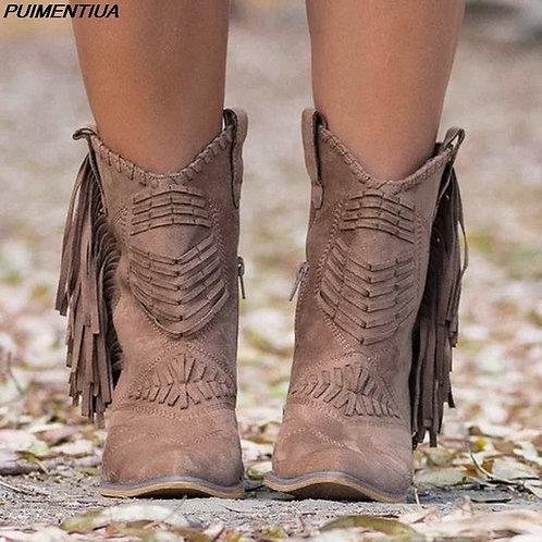 Ankle Tassel Western Cowboy Boots