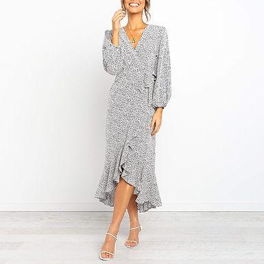 Dot Print Ruffle Wrap Dress