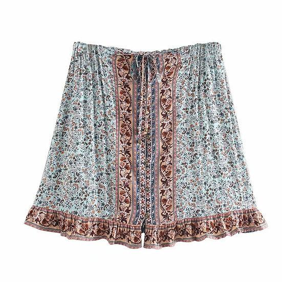 Floral Peacock Printed Mini Skirt