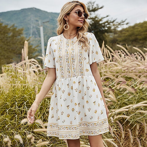 Short Sleeve High Waist Floral Print Mini Dress