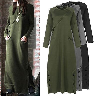 Fleece Sweatshirt Dress (Plus sizes available)